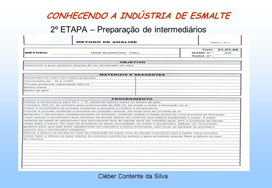 CONHECENDO A INDÚSTRIA DE ESMALTE 2º ETAPA – Preparação de intermediários Cléber Contente da Silva