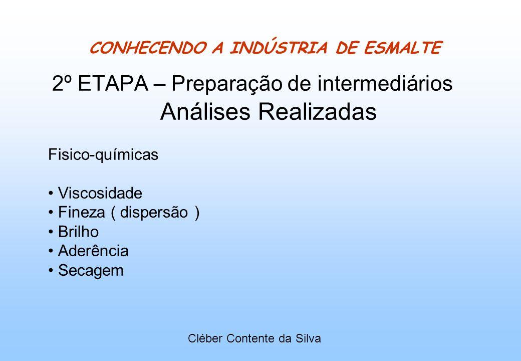 CONHECENDO A INDÚSTRIA DE ESMALTE 2º ETAPA – Preparação de intermediários Análises Realizadas Fisico-químicas Viscosidade Fineza ( dispersão ) Brilho