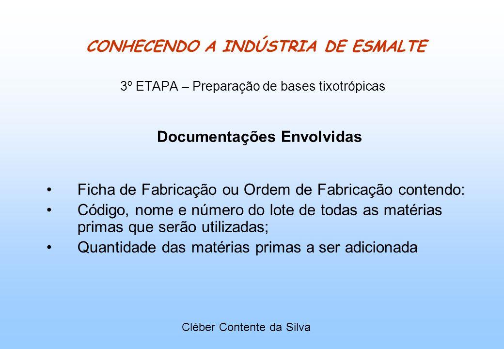 CONHECENDO A INDÚSTRIA DE ESMALTE 3º ETAPA – Preparação de bases tixotrópicas Documentações Envolvidas Ficha de Fabricação ou Ordem de Fabricação cont