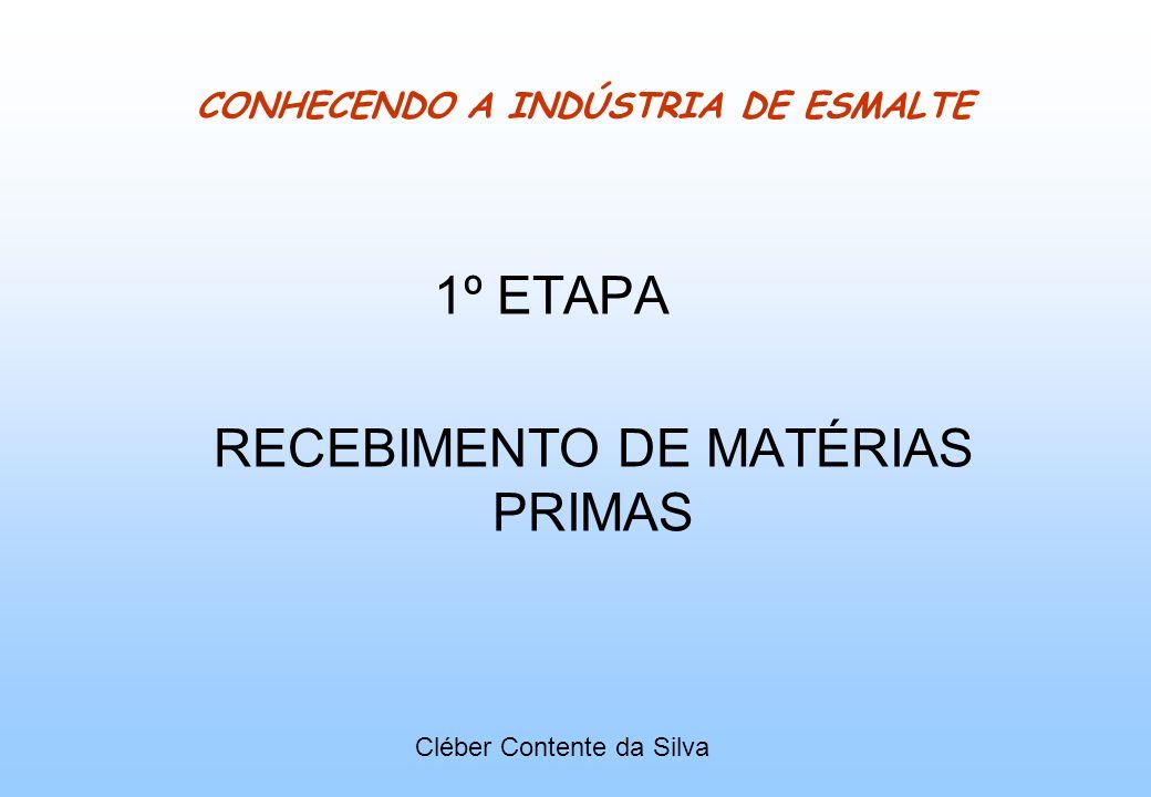 CONHECENDO A INDÚSTRIA DE ESMALTE 1º ETAPA RECEBIMENTO DE MATÉRIAS PRIMAS Cléber Contente da Silva