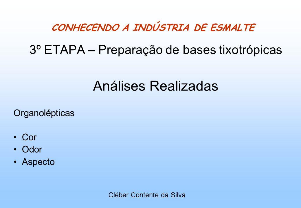 CONHECENDO A INDÚSTRIA DE ESMALTE 3º ETAPA – Preparação de bases tixotrópicas Análises Realizadas Organolépticas Cor Odor Aspecto Cléber Contente da S