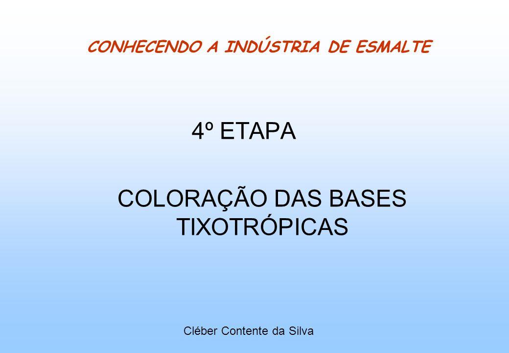 CONHECENDO A INDÚSTRIA DE ESMALTE 4º ETAPA COLORAÇÃO DAS BASES TIXOTRÓPICAS Cléber Contente da Silva