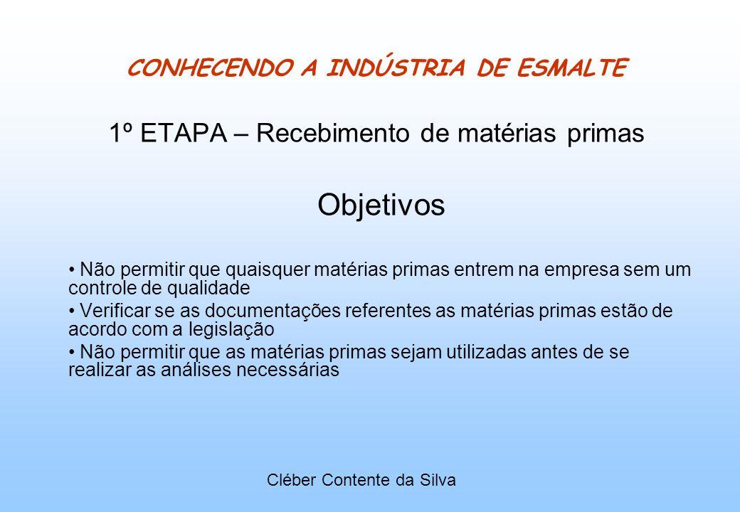 CONHECENDO A INDÚSTRIA DE ESMALTE 1º ETAPA – Recebimento de matérias primas Objetivos Não permitir que quaisquer matérias primas entrem na empresa sem
