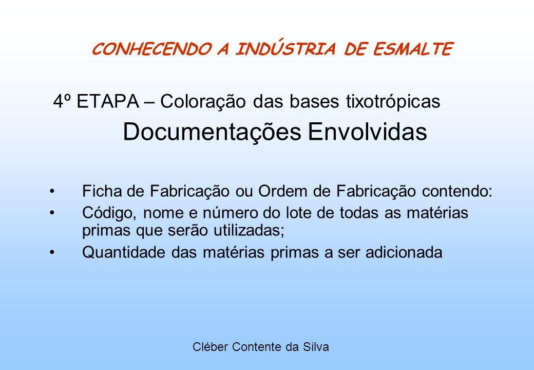 CONHECENDO A INDÚSTRIA DE ESMALTE 4º ETAPA – Coloração das bases tixotrópicas Documentações Envolvidas Ficha de Fabricação ou Ordem de Fabricação cont