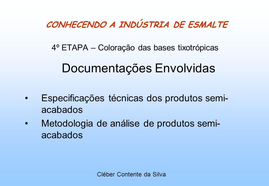 CONHECENDO A INDÚSTRIA DE ESMALTE 4º ETAPA – Coloração das bases tixotrópicas Documentações Envolvidas Especificações técnicas dos produtos semi- acab