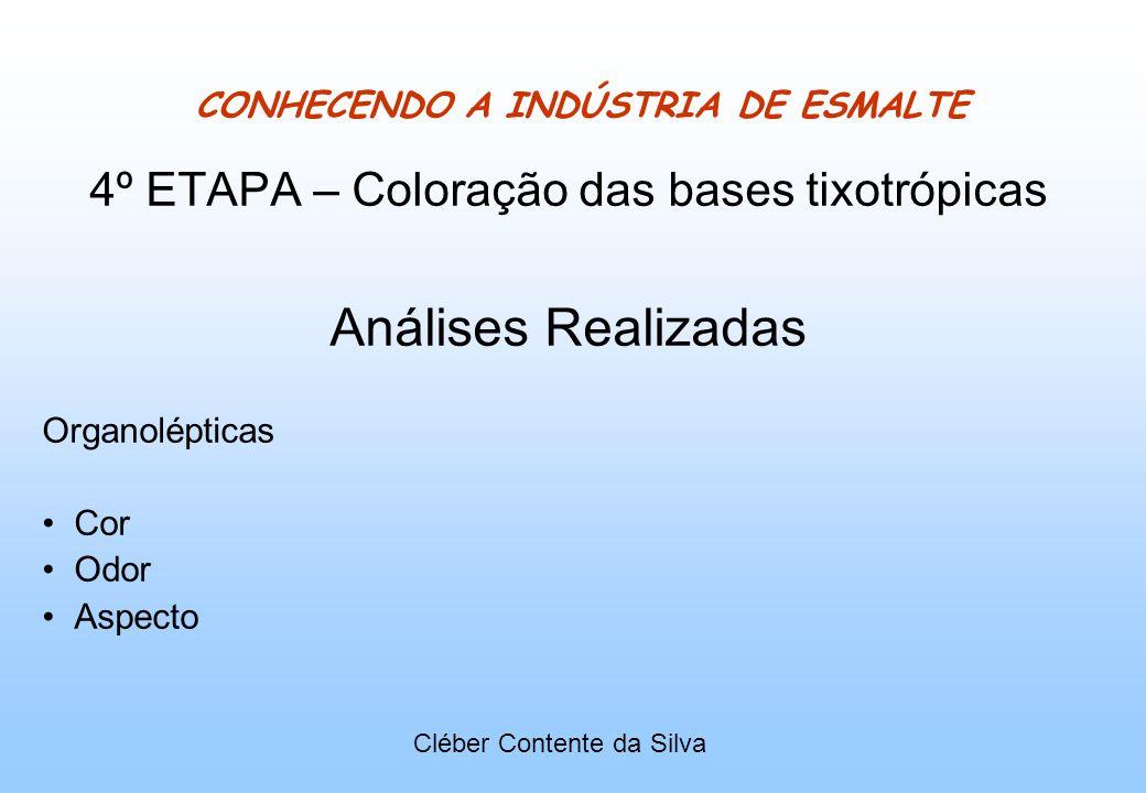 CONHECENDO A INDÚSTRIA DE ESMALTE 4º ETAPA – Coloração das bases tixotrópicas Análises Realizadas Organolépticas Cor Odor Aspecto Cléber Contente da S