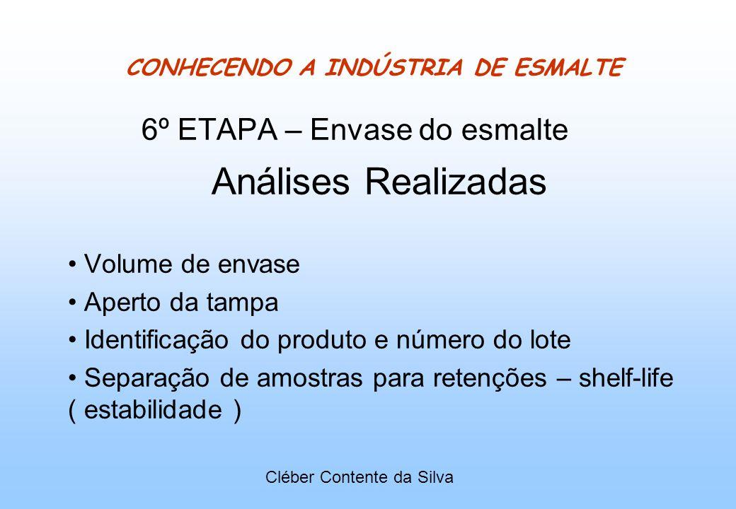 CONHECENDO A INDÚSTRIA DE ESMALTE 6º ETAPA – Envase do esmalte Análises Realizadas Volume de envase Aperto da tampa Identificação do produto e número