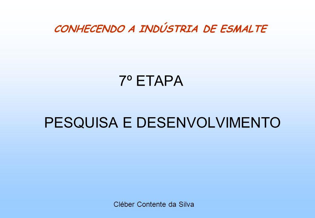 CONHECENDO A INDÚSTRIA DE ESMALTE 7º ETAPA PESQUISA E DESENVOLVIMENTO Cléber Contente da Silva