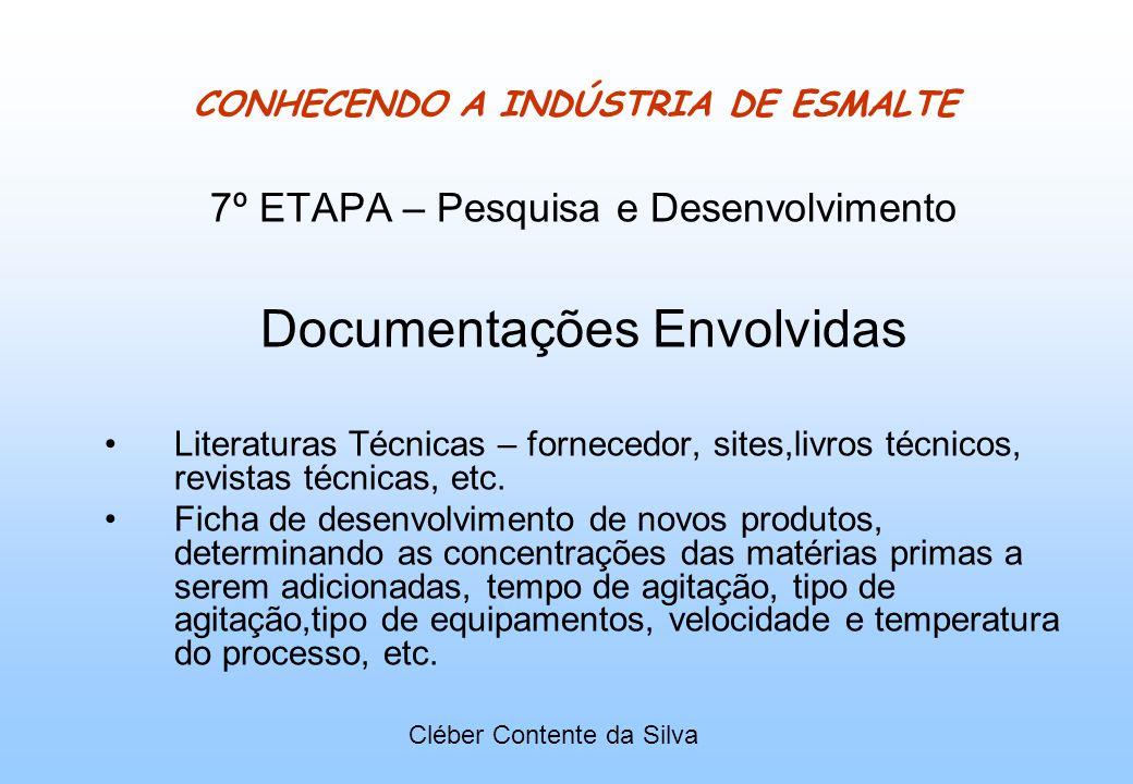 CONHECENDO A INDÚSTRIA DE ESMALTE 7º ETAPA – Pesquisa e Desenvolvimento Documentações Envolvidas Literaturas Técnicas – fornecedor, sites,livros técni