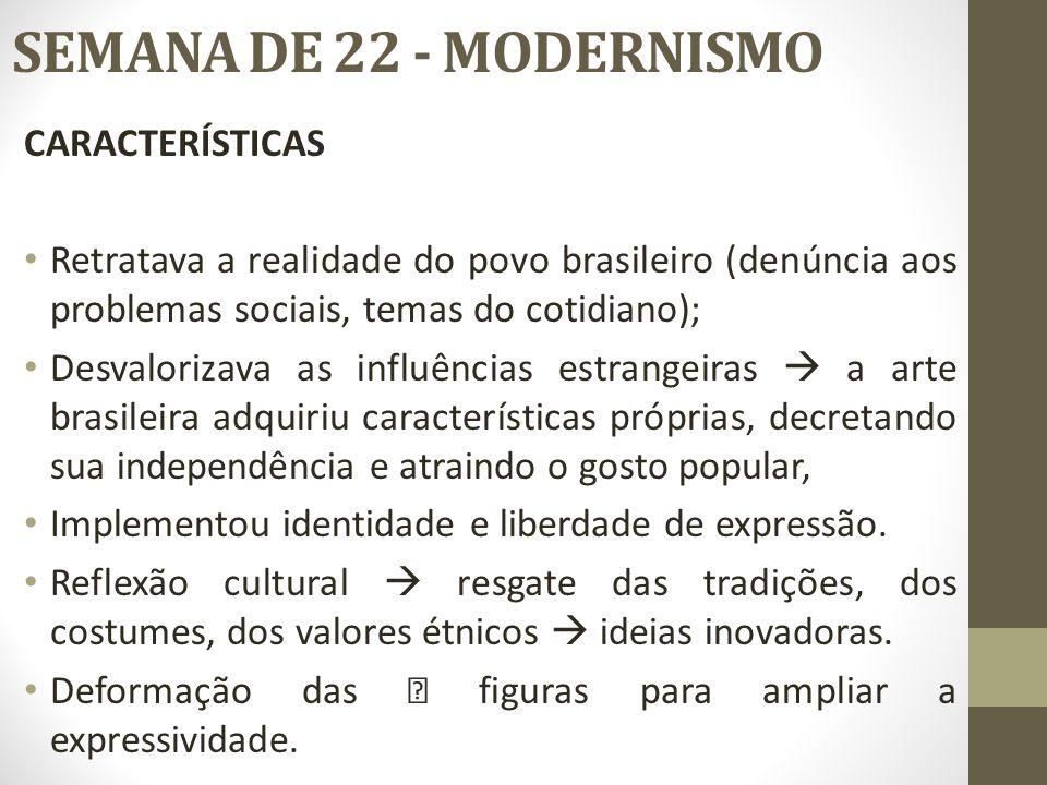 SEMANA DE 22 - MODERNISMO CARACTERÍSTICAS Retratava a realidade do povo brasileiro (denúncia aos problemas sociais, temas do cotidiano); Desvalorizava