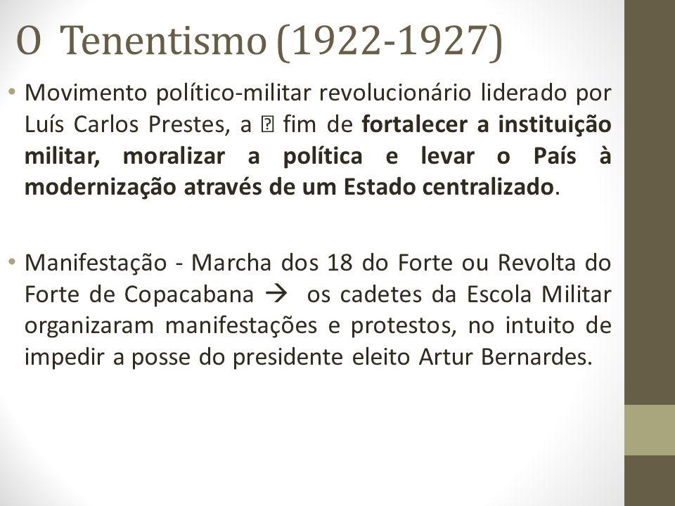 O Tenentismo (1922-1927) Movimento político-militar revolucionário liderado por Luís Carlos Prestes, a ‡ fim de fortalecer a instituição militar, mora