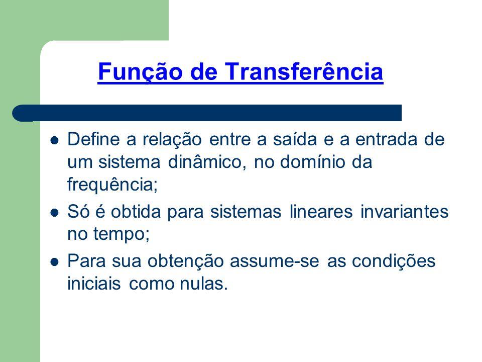 Função de Transferência Define a relação entre a saída e a entrada de um sistema dinâmico, no domínio da frequência; Só é obtida para sistemas lineare