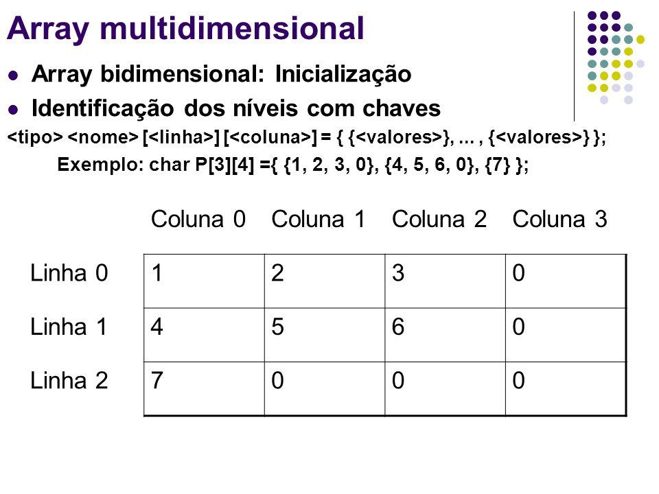 Array multidimensional Array bidimensional: Inicialização Identificação dos níveis com chaves [ ] [ ] = { { },..., { } }; Exemplo: char P[3][4] ={ {1,