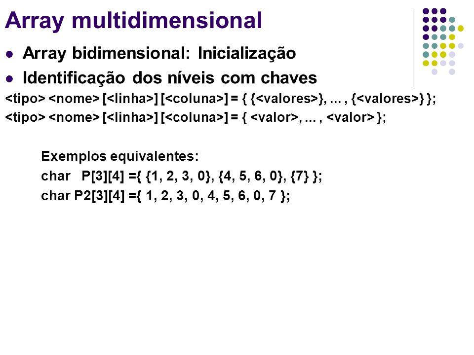 Array multidimensional Array bidimensional: Inicialização Identificação dos níveis com chaves [ ] [ ] = { { },..., { } }; [ ] [ ] = {,..., }; Exemplos