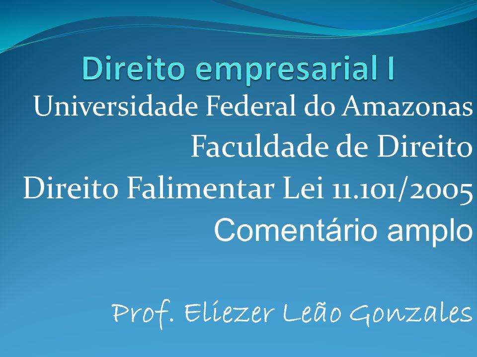 Universidade Federal do Amazonas Faculdade de Direito Direito Falimentar Lei 11.101/2005 Comentário amplo Prof. Eliezer Leão Gonzales