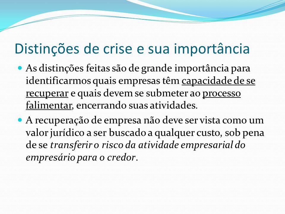 Distinções de crise e sua importância As distinções feitas são de grande importância para identificarmos quais empresas têm capacidade de se recuperar e quais devem se submeter ao processo falimentar, encerrando suas atividades.