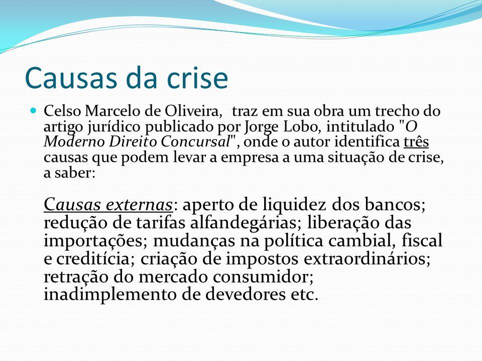 Causas da crise Celso Marcelo de Oliveira, traz em sua obra um trecho do artigo jurídico publicado por Jorge Lobo, intitulado
