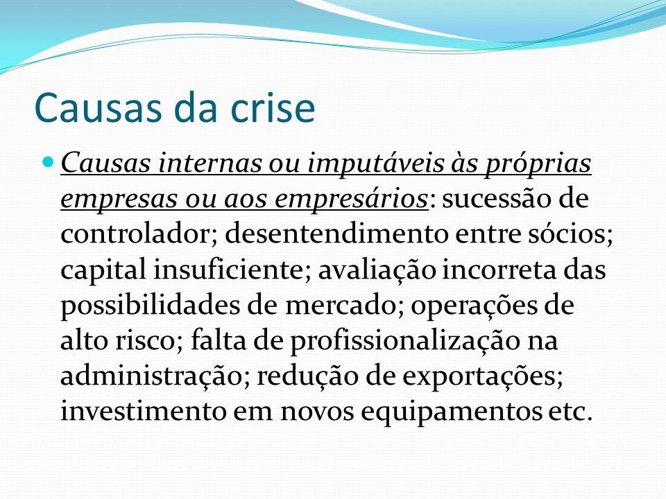 Causas da crise Causas internas ou imputáveis às próprias empresas ou aos empresários: sucessão de controlador; desentendimento entre sócios; capital