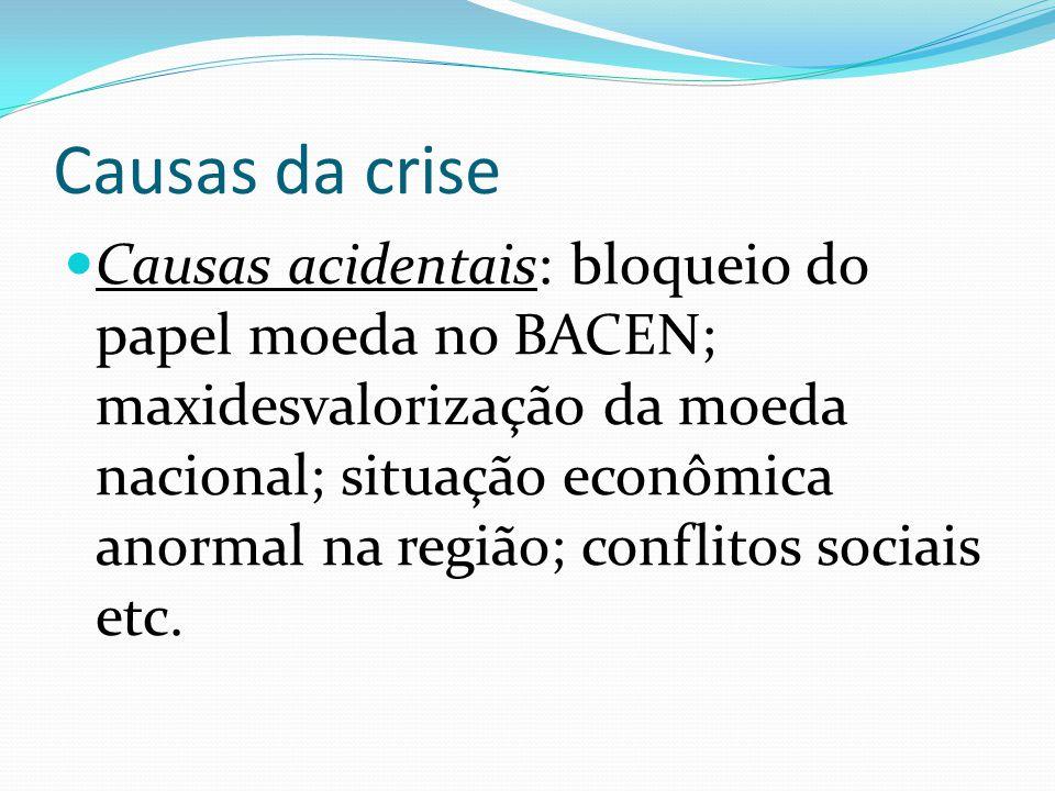 Causas da crise Causas acidentais: bloqueio do papel moeda no BACEN; maxidesvalorização da moeda nacional; situação econômica anormal na região; conflitos sociais etc.