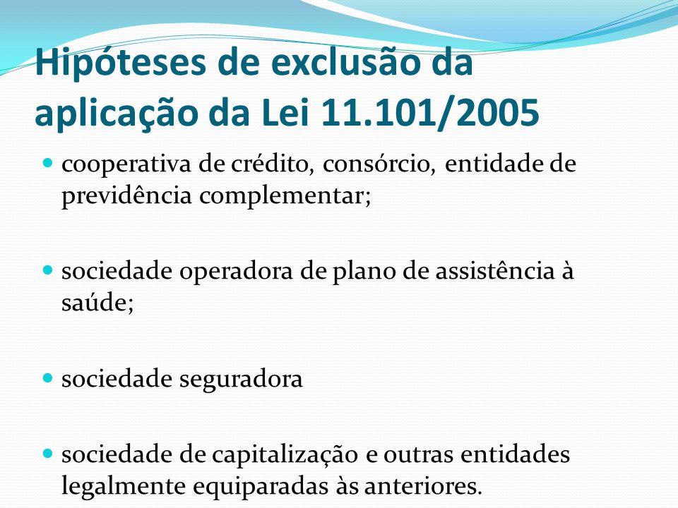 Hipóteses de exclusão da aplicação da Lei 11.101/2005 cooperativa de crédito, consórcio, entidade de previdência complementar; sociedade operadora de