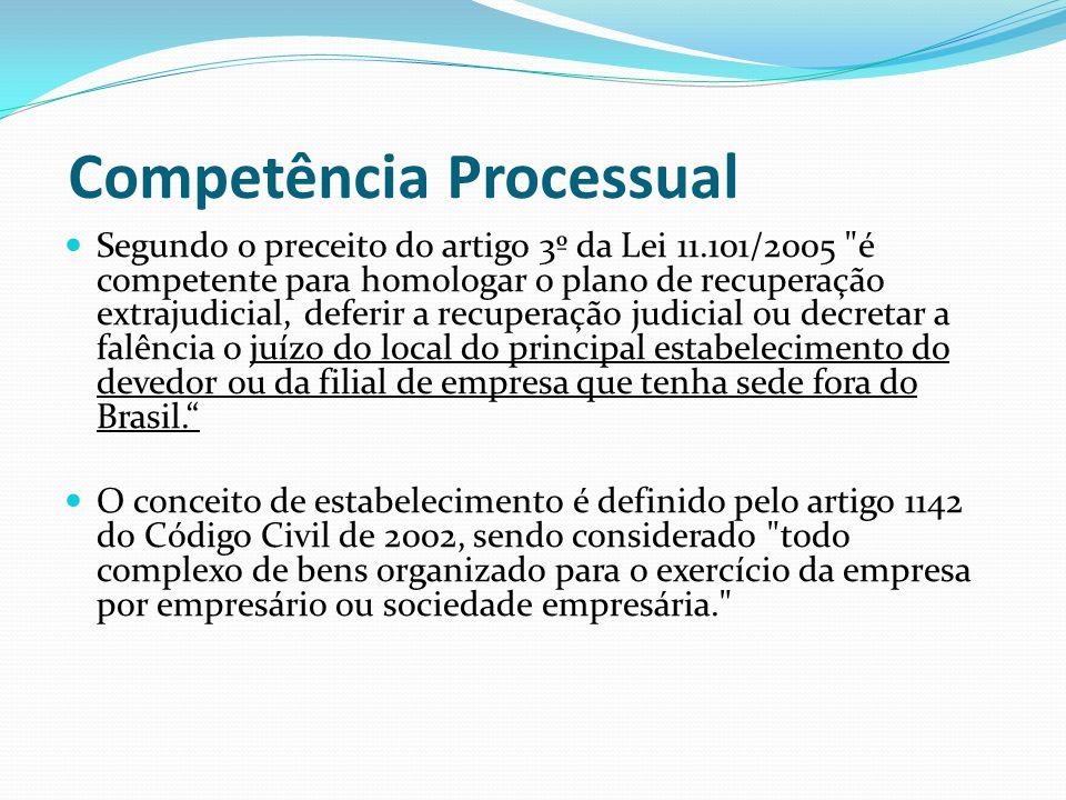 Competência Processual Segundo o preceito do artigo 3º da Lei 11.101/2005 é competente para homologar o plano de recuperação extrajudicial, deferir a recuperação judicial ou decretar a falência o juízo do local do principal estabelecimento do devedor ou da filial de empresa que tenha sede fora do Brasil. O conceito de estabelecimento é definido pelo artigo 1142 do Código Civil de 2002, sendo considerado todo complexo de bens organizado para o exercício da empresa por empresário ou sociedade empresária.