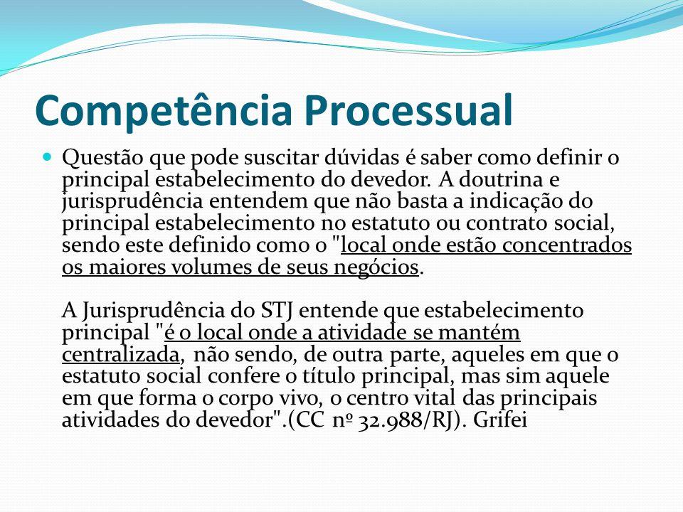 Competência Processual Questão que pode suscitar dúvidas é saber como definir o principal estabelecimento do devedor. A doutrina e jurisprudência ente