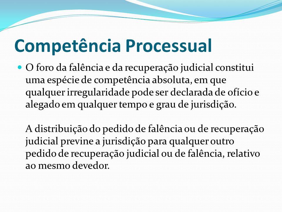 Competência Processual O foro da falência e da recuperação judicial constitui uma espécie de competência absoluta, em que qualquer irregularidade pode ser declarada de ofício e alegado em qualquer tempo e grau de jurisdição.