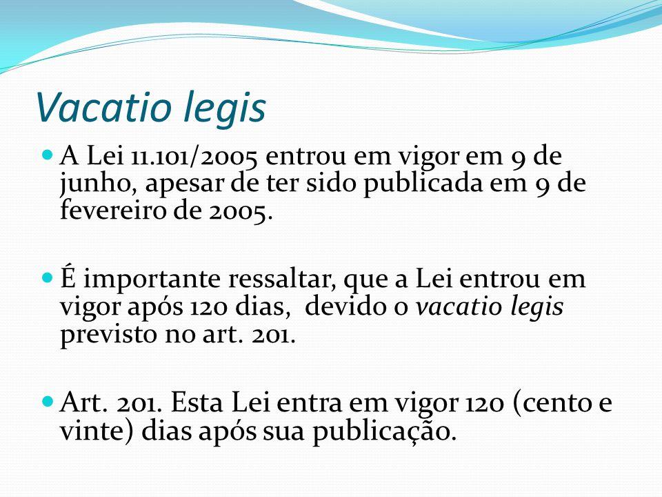 Vacatio legis A Lei 11.101/2005 entrou em vigor em 9 de junho, apesar de ter sido publicada em 9 de fevereiro de 2005.
