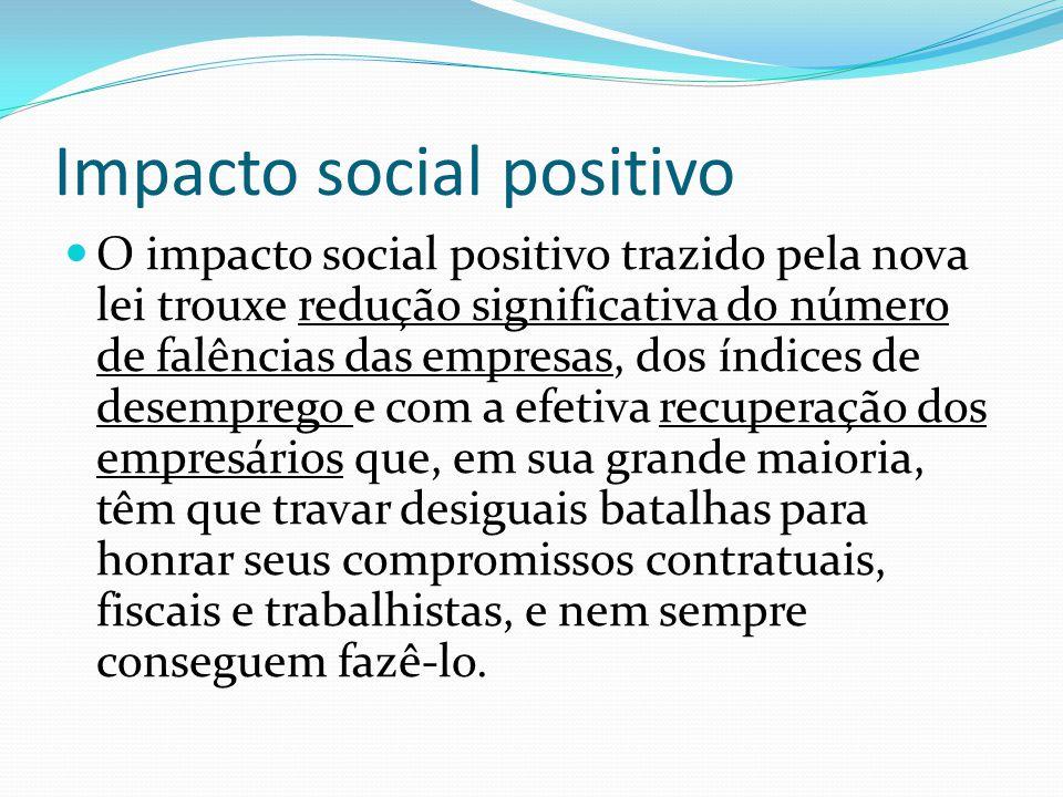 Impacto social positivo O impacto social positivo trazido pela nova lei trouxe redução significativa do número de falências das empresas, dos índices
