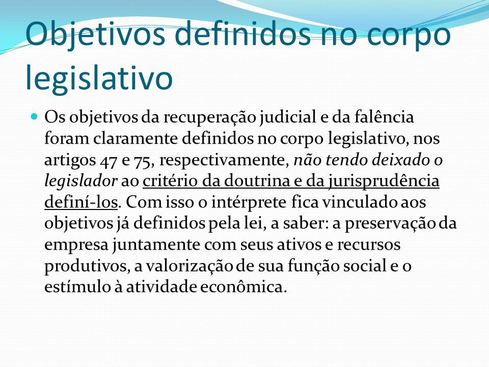 Objetivos definidos no corpo legislativo Os objetivos da recuperação judicial e da falência foram claramente definidos no corpo legislativo, nos artigos 47 e 75, respectivamente, não tendo deixado o legislador ao critério da doutrina e da jurisprudência definí-los.