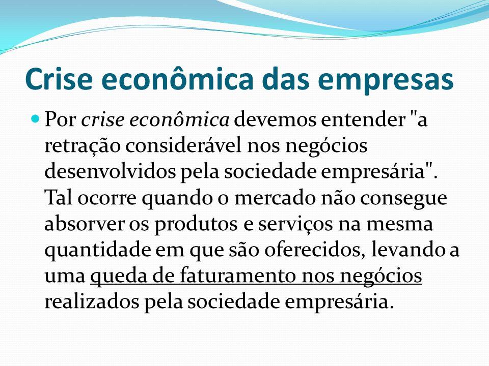 Crise financeira das empresas A crise financeira revela-se quando a sociedade empresária não tem caixa para honrar seus compromissos.