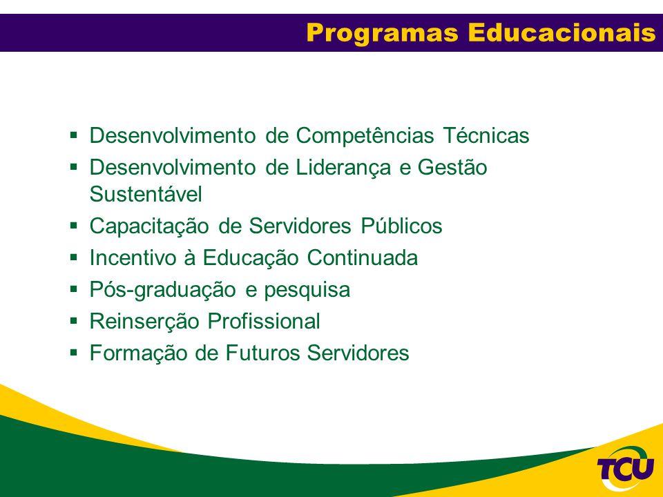  Desenvolvimento de Competências Técnicas  Desenvolvimento de Liderança e Gestão Sustentável  Capacitação de Servidores Públicos  Incentivo à Educ
