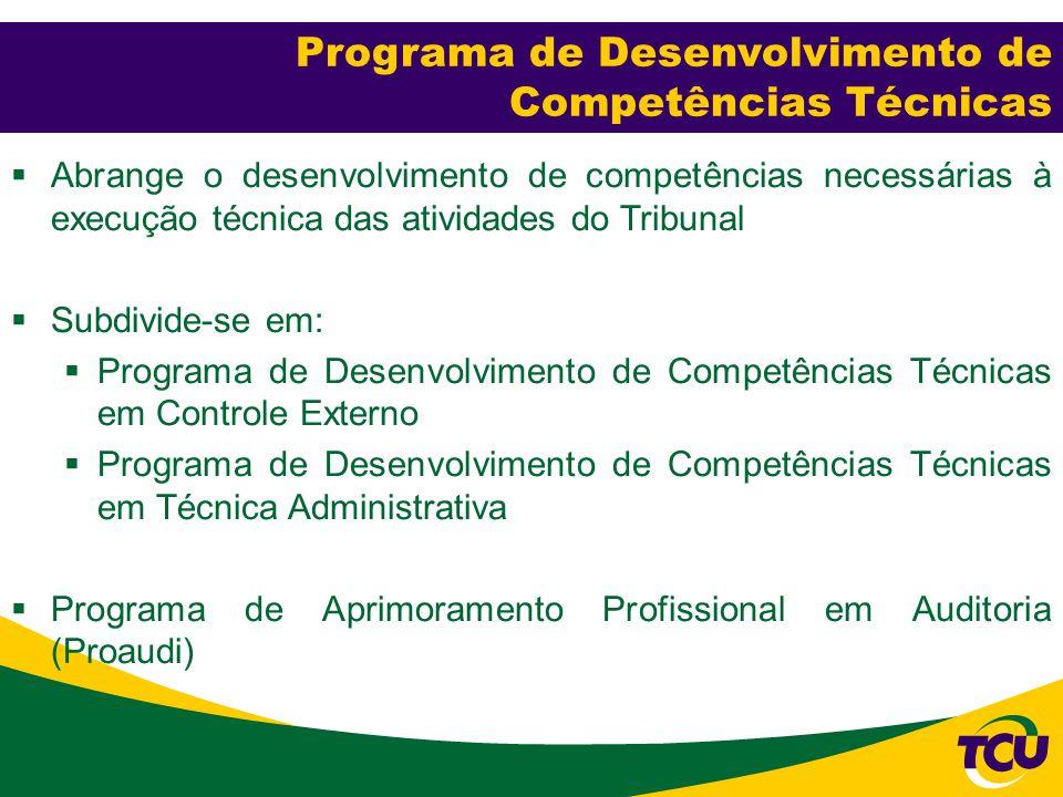  Abrange o desenvolvimento de competências necessárias à execução técnica das atividades do Tribunal  Subdivide-se em:  Programa de Desenvolvimento