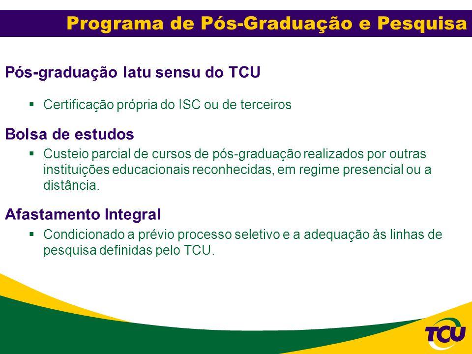 Pós-Graduação e Pesquisa Pós-graduação latu sensu do TCU  Certificação própria do ISC ou de terceiros Bolsa de estudos  Custeio parcial de cursos de