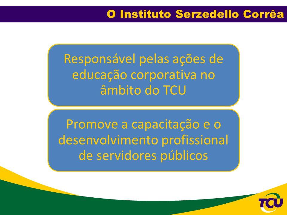 O Instituto Serzedello Corrêa Responsável pelas ações de educação corporativa no âmbito do TCU Promove a capacitação e o desenvolvimento profissional