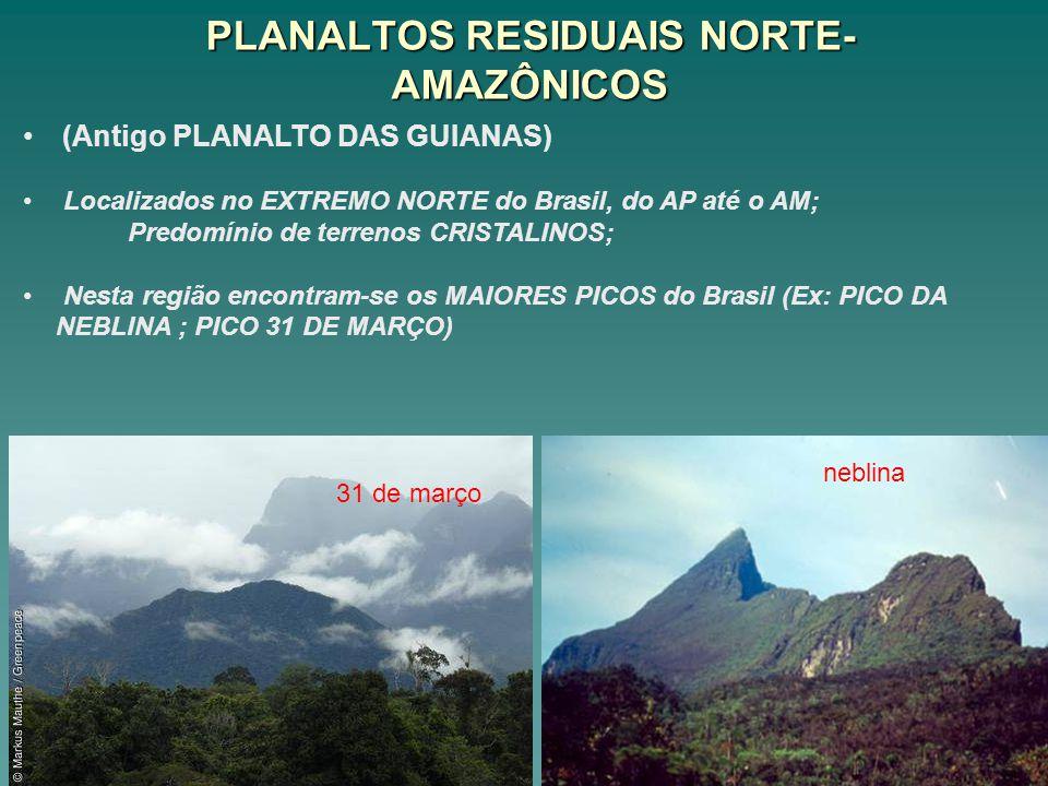 PLANALTOS RESIDUAIS NORTE- AMAZÔNICOS (Antigo PLANALTO DAS GUIANAS) Localizados no EXTREMO NORTE do Brasil, do AP até o AM; Predomínio de terrenos CRI