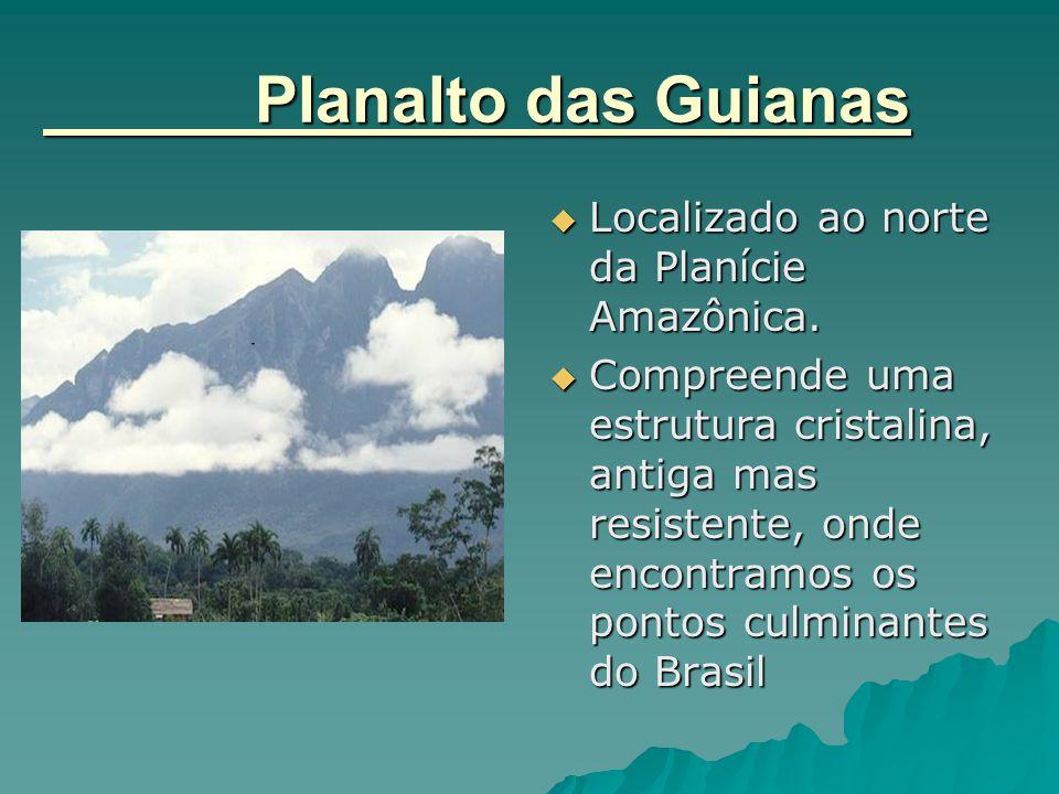 Planalto das Guianas  Localizado ao norte da Planície Amazônica.  Compreende uma estrutura cristalina, antiga mas resistente, onde encontramos os po