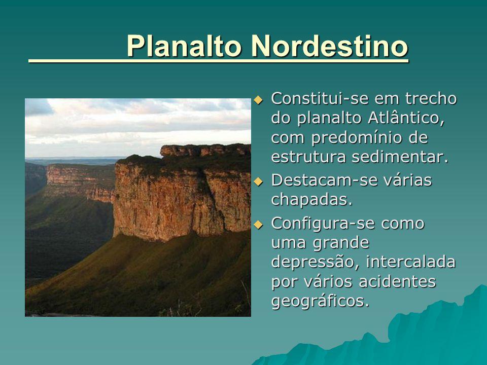 Planalto Nordestino  Constitui-se em trecho do planalto Atlântico, com predomínio de estrutura sedimentar.  Destacam-se várias chapadas.  Configura