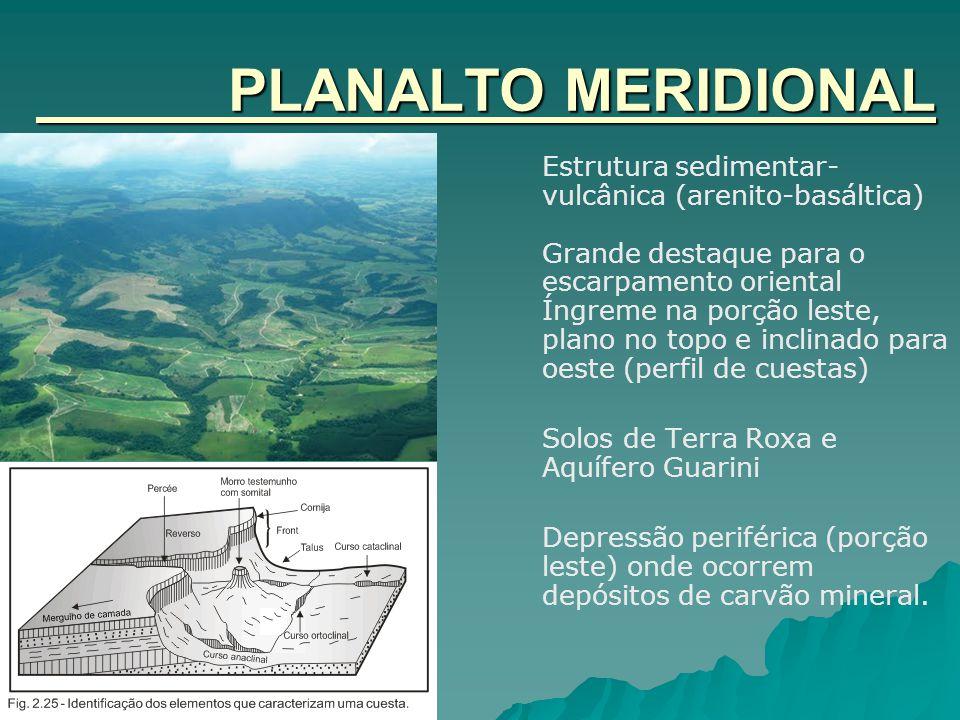 PLANALTO MERIDIONAL Estrutura sedimentar- vulcânica (arenito-basáltica) Grande destaque para o escarpamento oriental Íngreme na porção leste, plano no