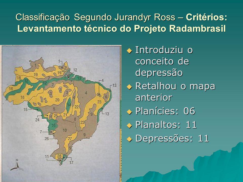 Classificação Segundo Jurandyr Ross – Critérios: Levantamento técnico do Projeto Radambrasil  Introduziu o conceito de depressão  Retalhou o mapa an