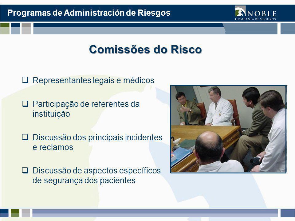 Comissões do Risco  Representantes legais e médicos  Participação de referentes da instituição  Discussão dos principais incidentes e reclamos  Discussão de aspectos específicos de segurança dos pacientes Programas de Administración de Riesgos