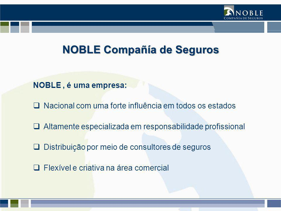NOBLE Compañía de Seguros NOBLE, é uma empresa:  Nacional com uma forte influência em todos os estados  Altamente especializada em responsabilidade profissional  Distribuição por meio de consultores de seguros  Flexível e criativa na área comercial