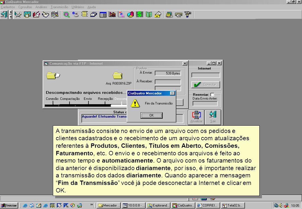 A transmissão consiste no envio de um arquivo com os pedidos e clientes cadastrados e o recebimento de um arquivo com atualizações referentes à Produt