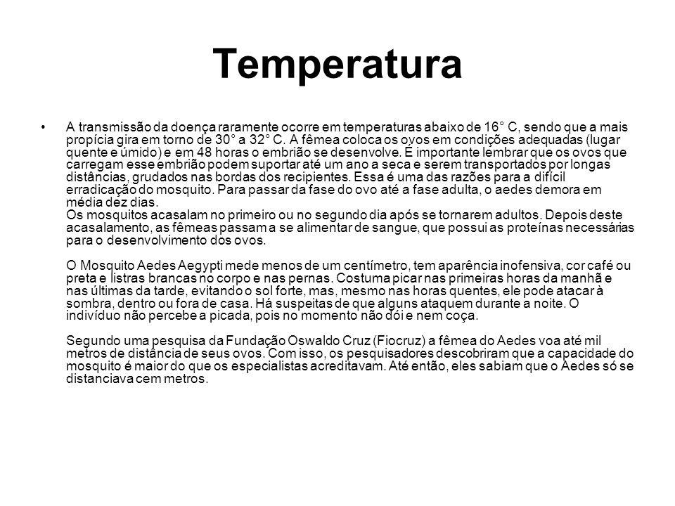 Temperatura A transmissão da doença raramente ocorre em temperaturas abaixo de 16° C, sendo que a mais propícia gira em torno de 30° a 32° C. A fêmea