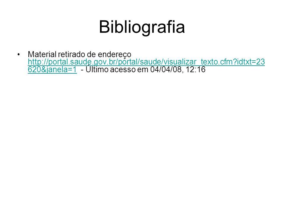 Bibliografia Material retirado de endereço http://portal.saude.gov.br/portal/saude/visualizar_texto.cfm?idtxt=23 620&janela=1 - Último acesso em 04/04