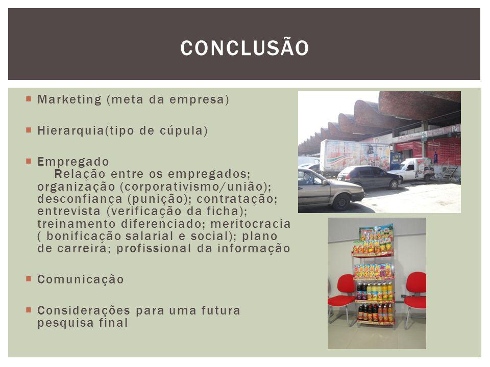  Marketing (meta da empresa)  Hierarquia(tipo de cúpula)  Empregado Relação entre os empregados; organização (corporativismo/união); desconfiança (