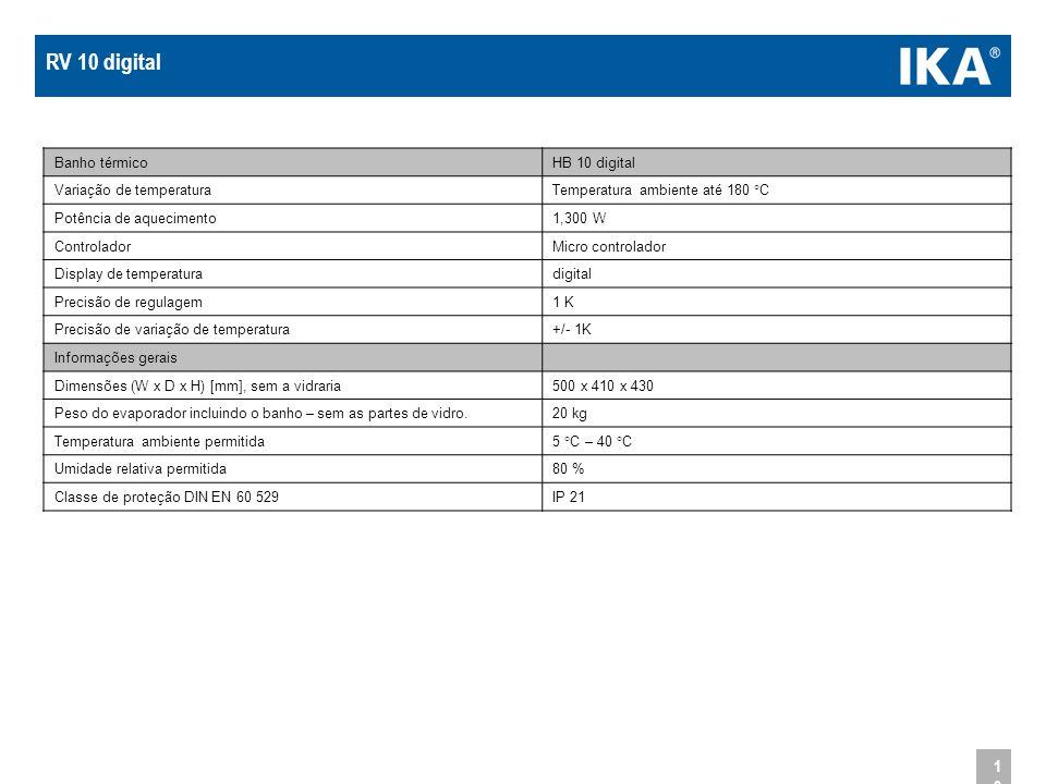 10 Banho térmicoHB 10 digital Variação de temperaturaTemperatura ambiente até 180 °C Potência de aquecimento1,300 W ControladorMicro controlador Displ
