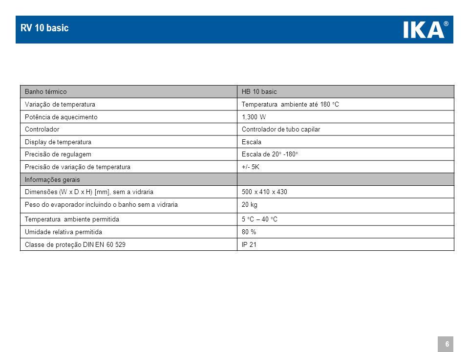 6 Banho térmicoHB 10 basic Variação de temperaturaTemperatura ambiente até 180 °C Potência de aquecimento1,300 W ControladorControlador de tubo capila