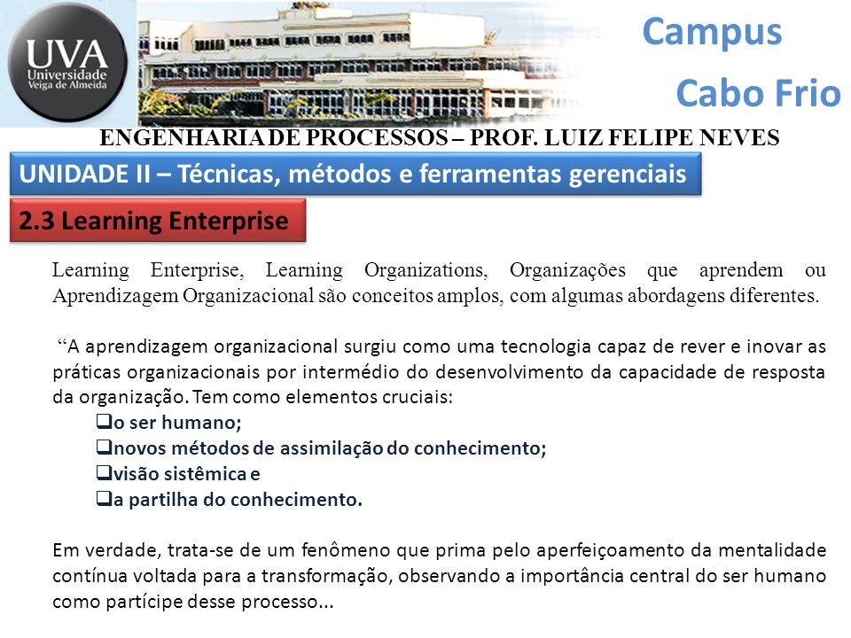 Campus Cabo Frio UNIDADE II – Técnicas, métodos e ferramentas gerenciais ENGENHARIA DE PROCESSOS – PROF. LUIZ FELIPE NEVES 2.3 Learning Enterprise Lea