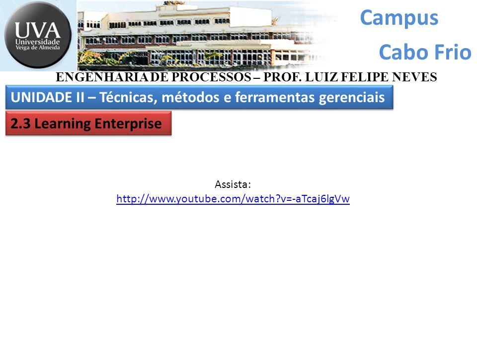 Campus Cabo Frio UNIDADE II – Técnicas, métodos e ferramentas gerenciais ENGENHARIA DE PROCESSOS – PROF. LUIZ FELIPE NEVES 2.3 Learning Enterprise Ass